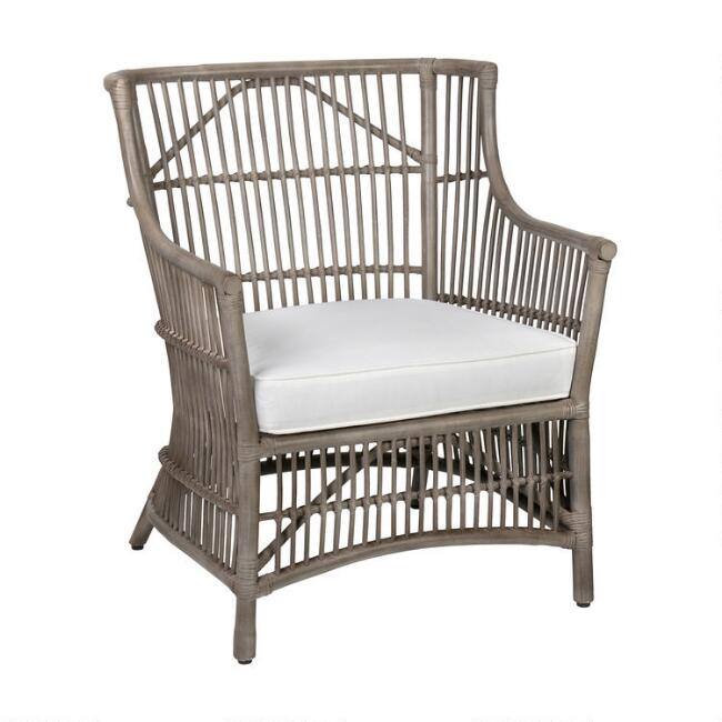 Gray Rattan Tasha Armchair with Cushion