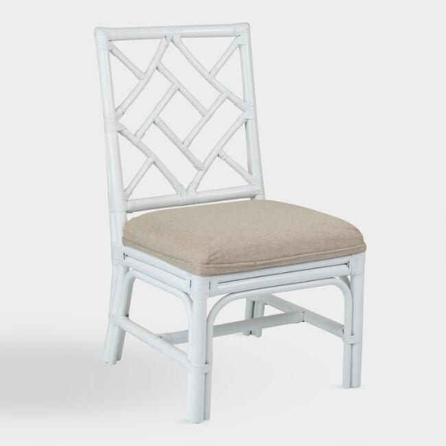 White Rattan Victoria Dining Chairs Set of 2