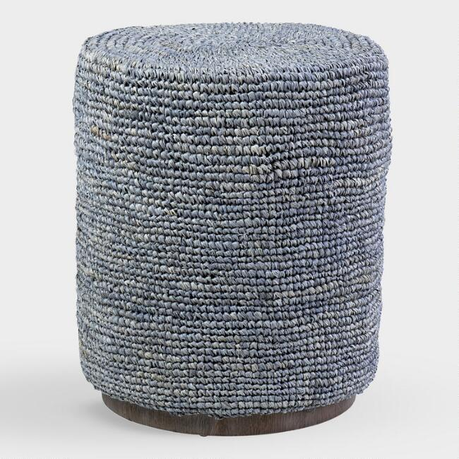 Gray Raffia Cylindrical Cami Accent Stool