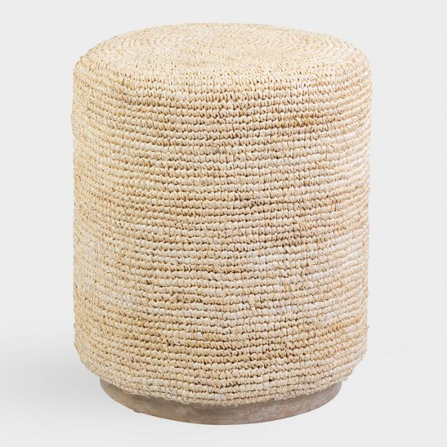 Natural Raffia Cylindrical Cami Accent Stool