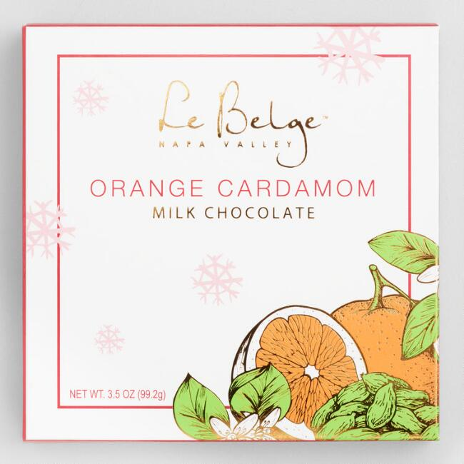 Le Belge Orange Cardamom Milk Chocolate Bar