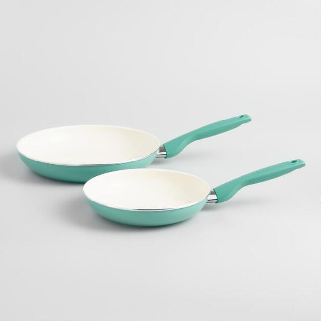 Turquoise GreenPan Rio Nonstick Ceramic Frying Pans 2 Pack