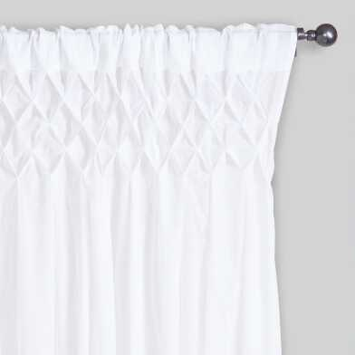 White Smocked Cotton Sleeve Top Curtains Set Of 2