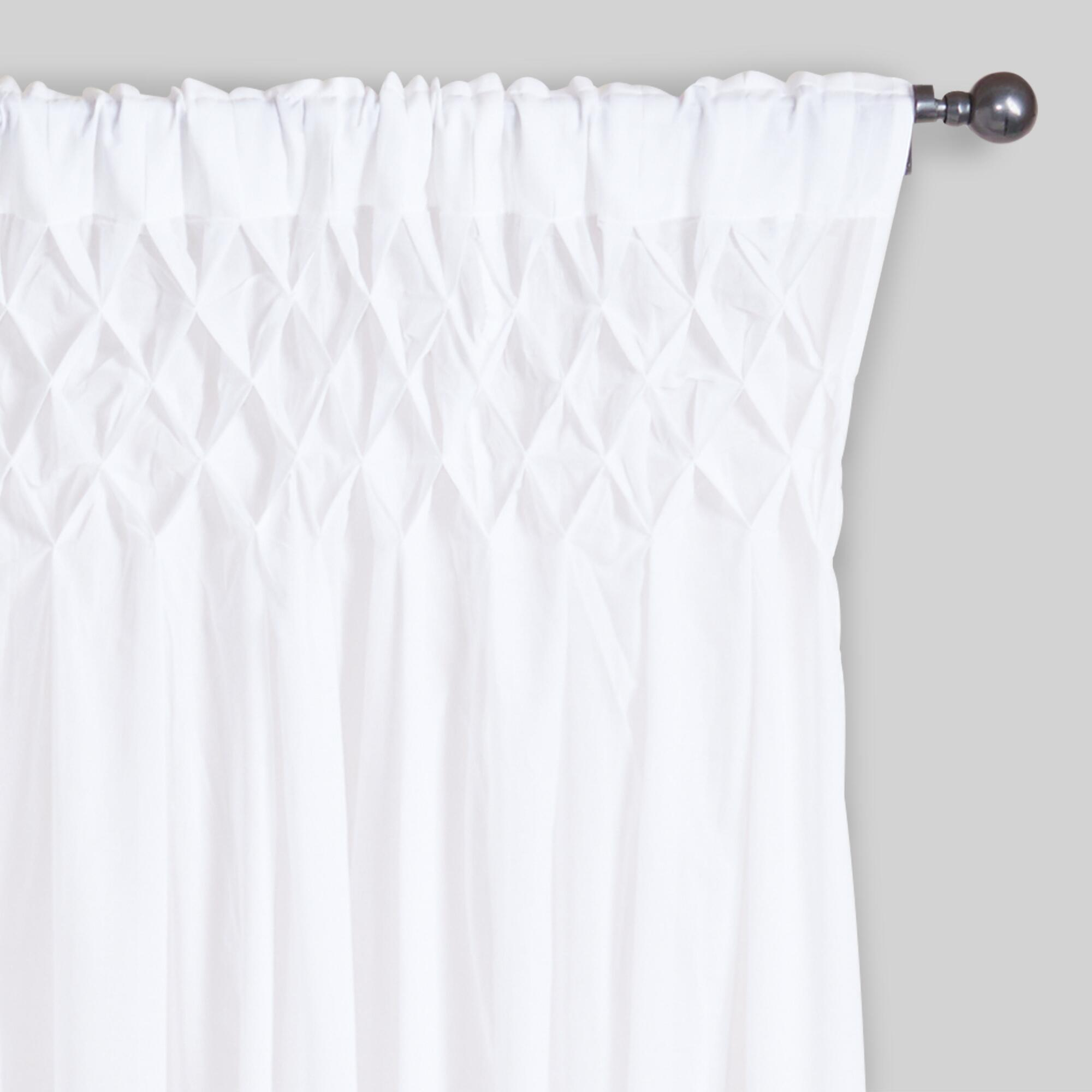 white today panel free cotton overstock product smocked sheer kosas curtains home garden shipping curtain inch fabc