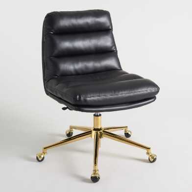 Black Faux Leather Tufted Parker Upholstered Office Chair