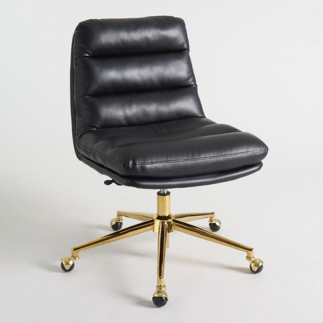 Black Faux Leather Parker Office Chair