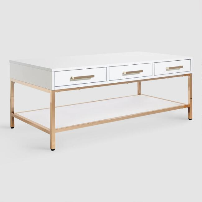 WM White And Gold Reid Coffee Table With Drawers
