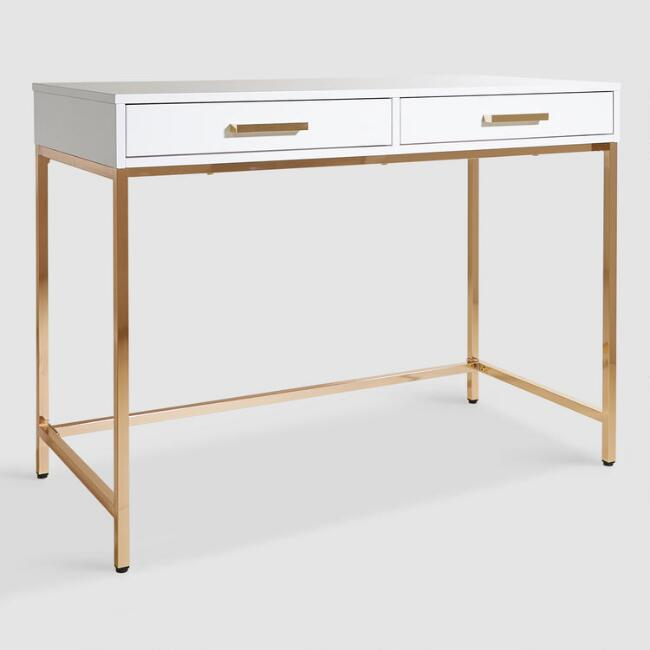 White and Gold Reid Desk with Drawers