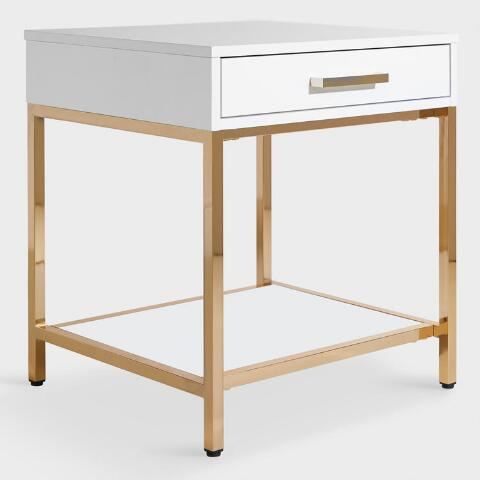 White And Gold Reid Accent Table With Drawer World Market