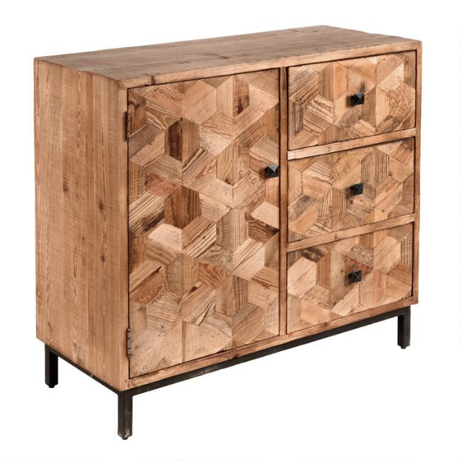 Reclaimed Pine and Metal Anders Storage Cabinet with Drawers