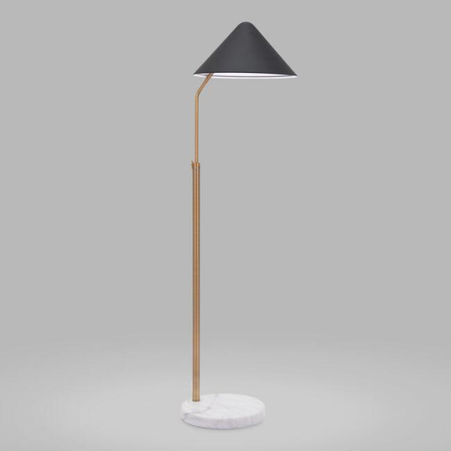 Marble and Gold Adjustable Gallagher Task Floor Lamp