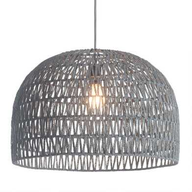 Gray Zigzag Open Weave Dome Laurel Pendant Lamp