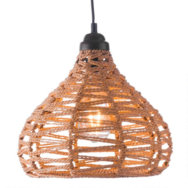 Natural Zigzag Open Weave Teardrop Lola Pendant Lamp