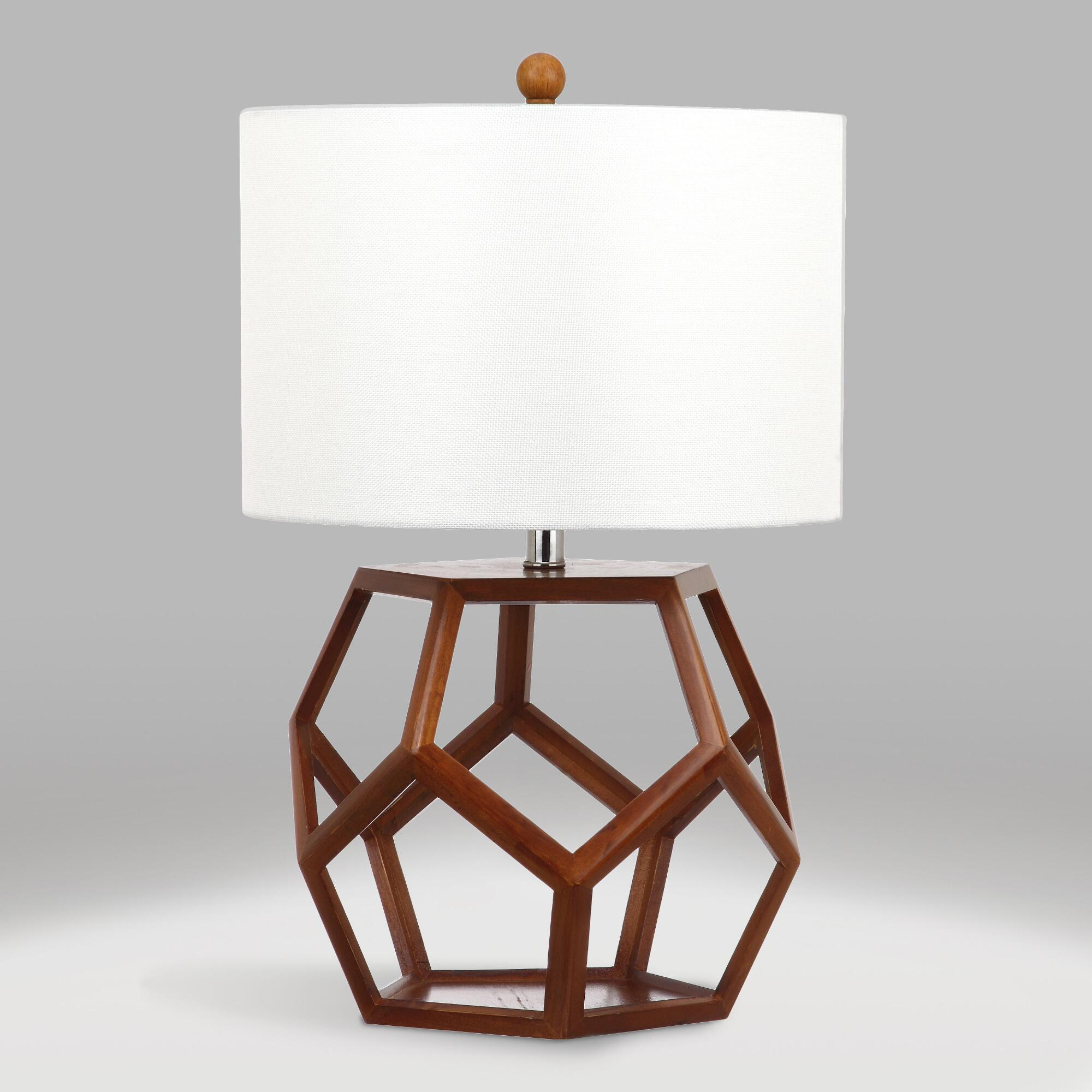 Brown Wood Open Geometric Edna Table Lamp and Shade Set by World Market