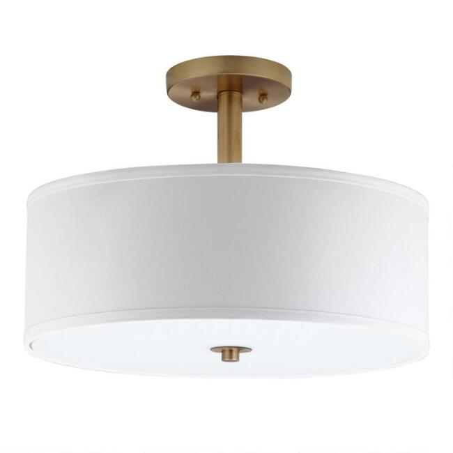 Gold and White Flush Mount Alysian Ceiling Light
