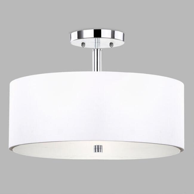 Chrome and White Flush Mount Alysian Ceiling Light
