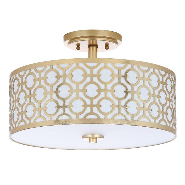 Gold Carved Metal Flush Mount Viviana Ceiling Light