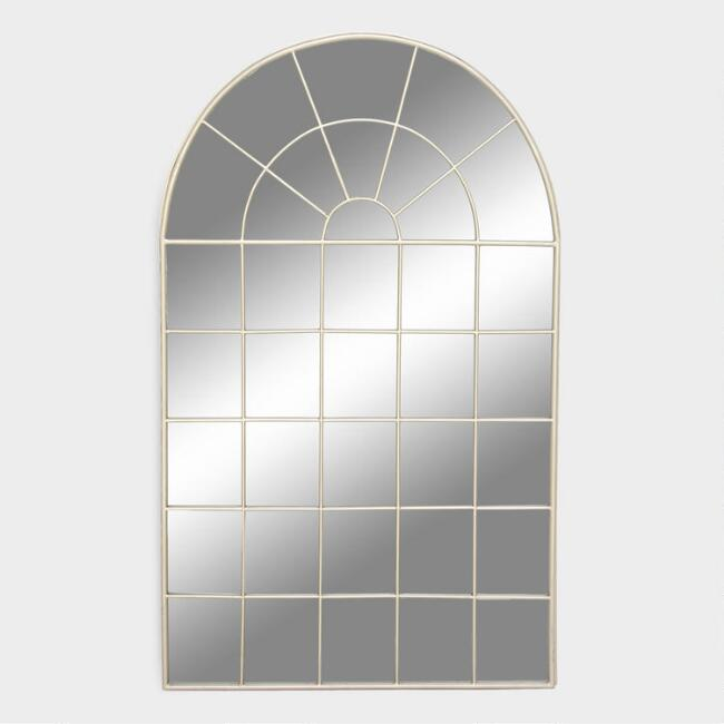 Large Silver Arched Windowpane Wall Mirror
