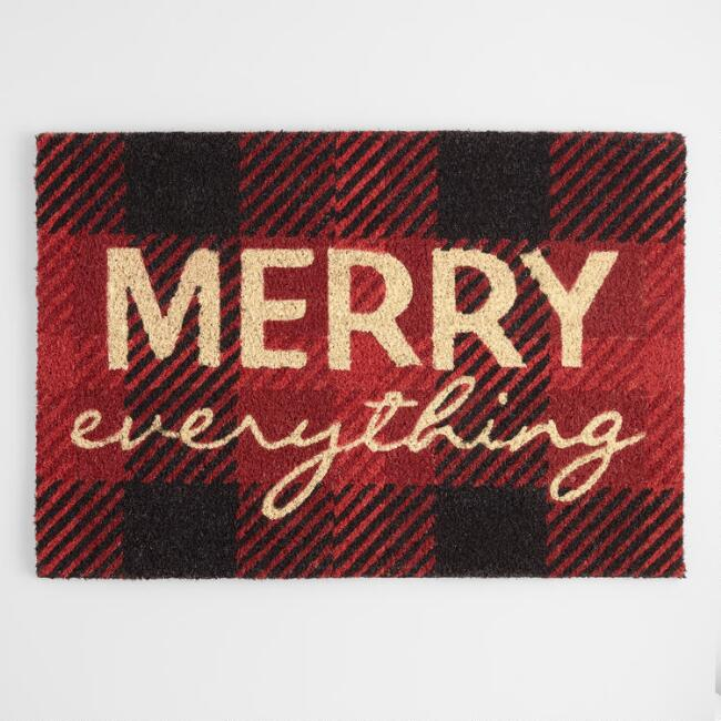 Red and Black Plaid Merry Everything Coir Doormat