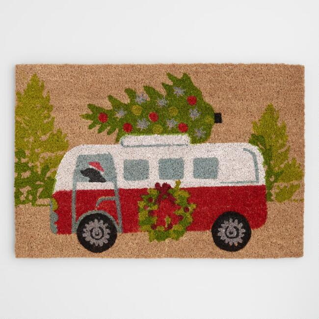 Dog Driving Vintage Bus with Holiday Tree Coir Doormat