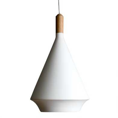 White Fiberglass and Teak Wood Teardrop Falco Pendant Lamp