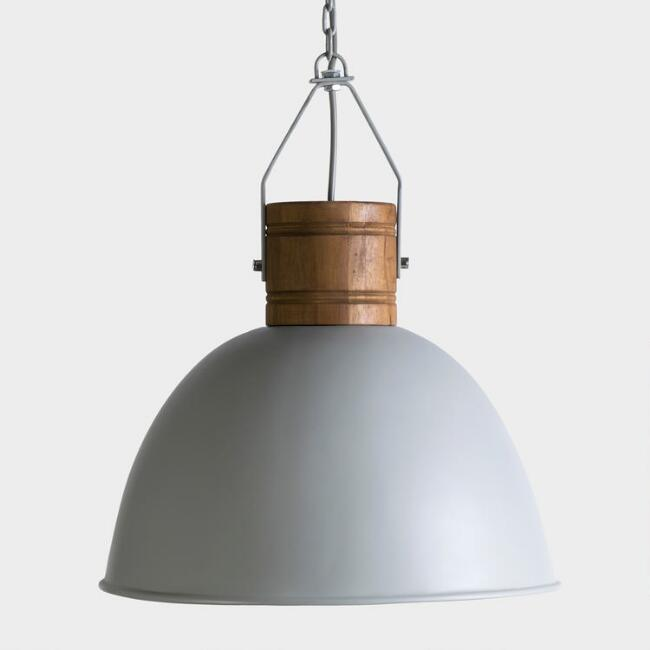 Gray Fiberglass and Teak Wood Dome Harper Pendant Lamp