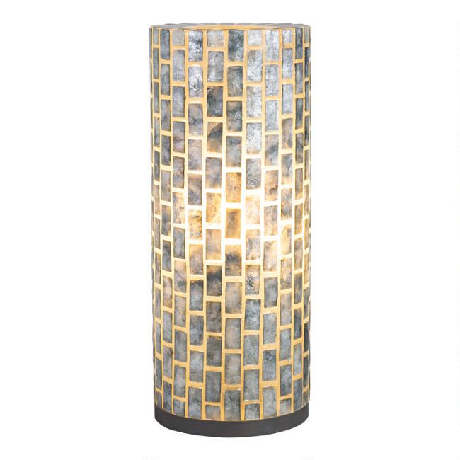Large Natural Capiz and Mango Wood Eli Accent Lamp