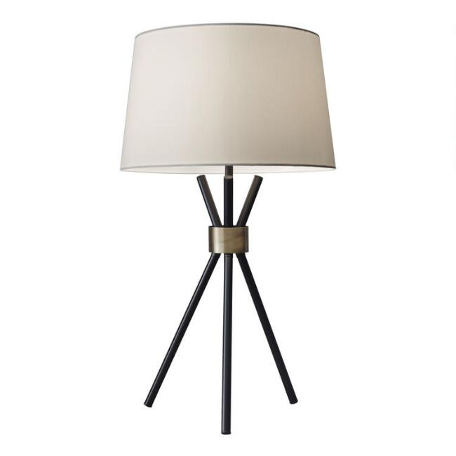 Black and Brass Tripod Kurt Table Lamp and Linen Shade Set