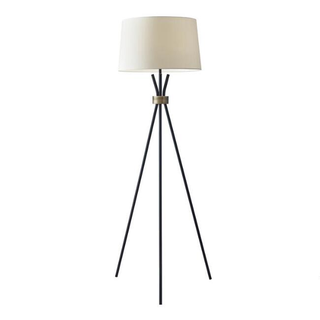 Black and Brass Tripod Kurt Floor Lamp and Linen Shade Set