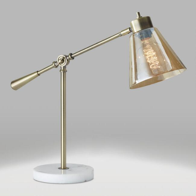- Brass And White Marble Adjustable Zinnia Task Desk Lamp World Market
