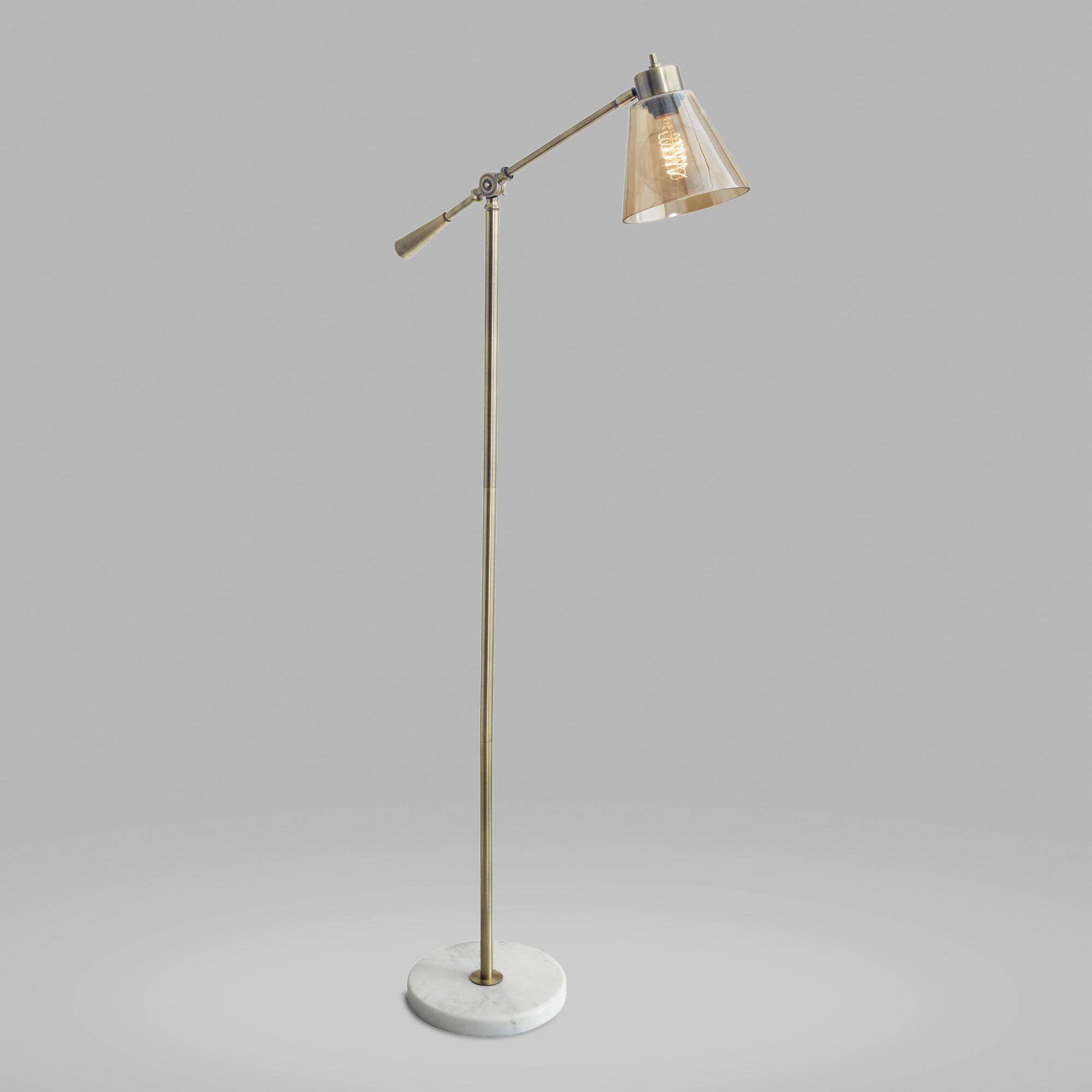 Brass and White Marble Adjustable Zinnia Task Floor Lamp by World Market