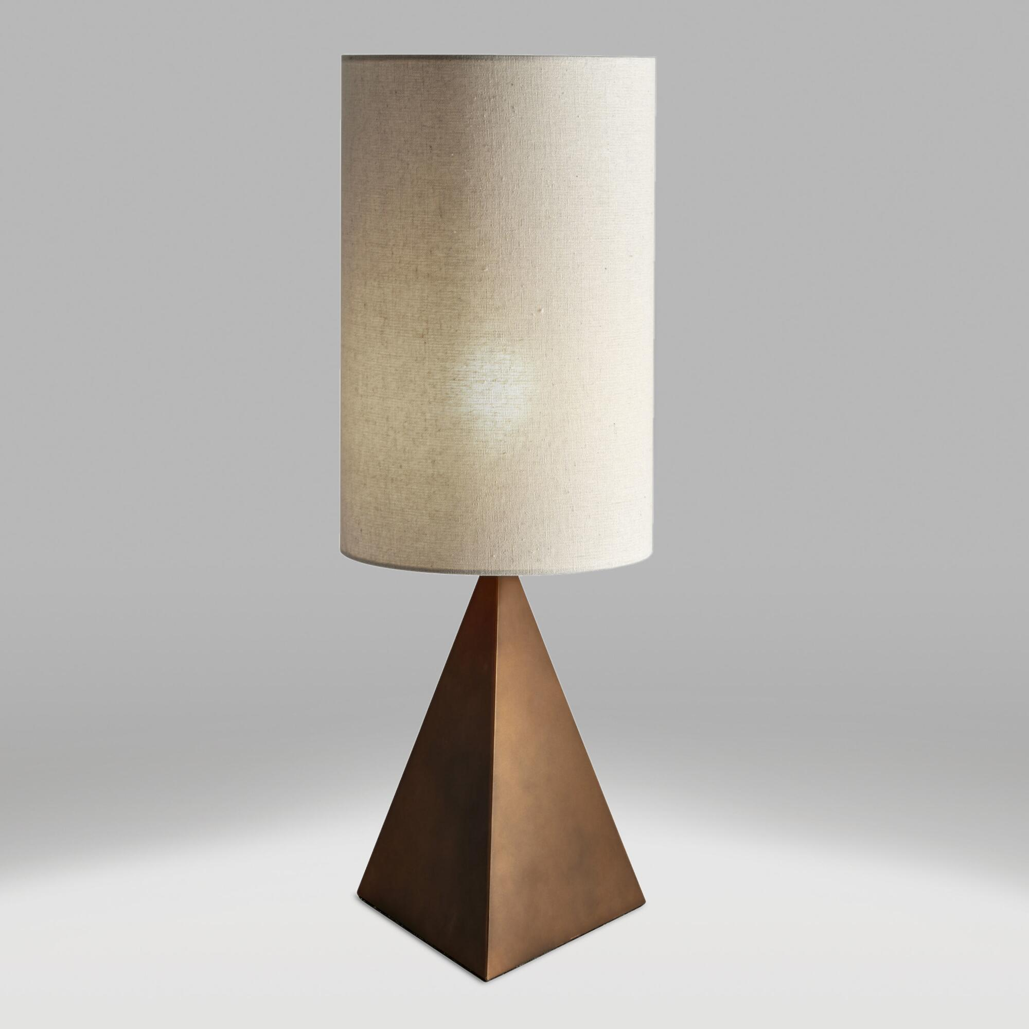 Bronze Pyramid Sinclair Table Lamp and Linen Shade Set by World Market