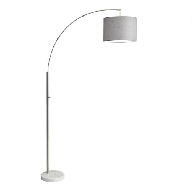 Steel and Marble Adjustable Sidney Floor Lamp and Shade Set