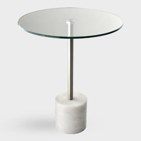 Round Glass Top And White Marble Heinrik Accent Table World Market