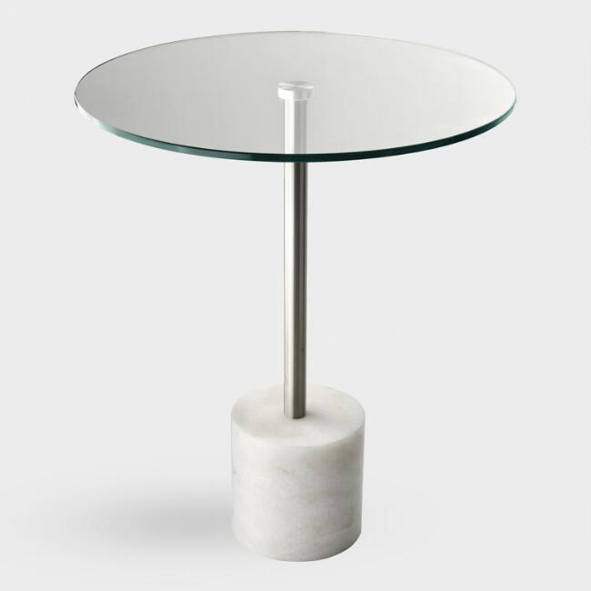 Round Glass Top and White Marble Heinrik Accent Table