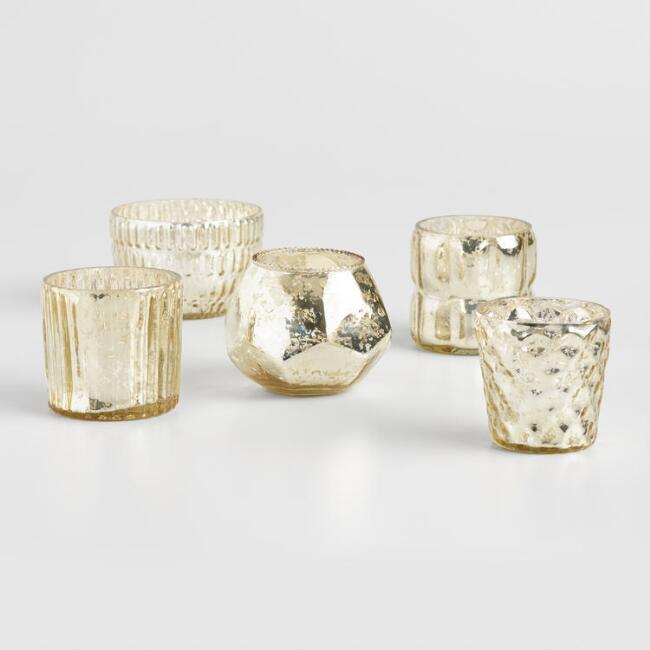 Gold Mercury Glass Votive Candleholders Set of 5