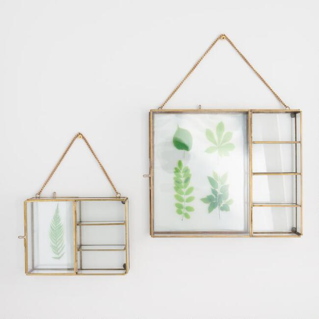 Glass and Brass Reese Curio Shadow Box Frame