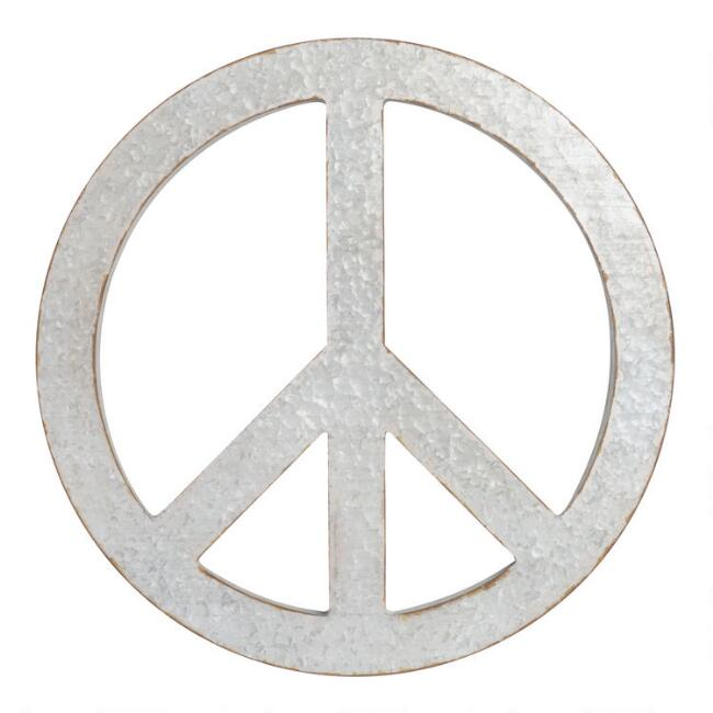 Galvanized Metal Peace Sign Wall Decor
