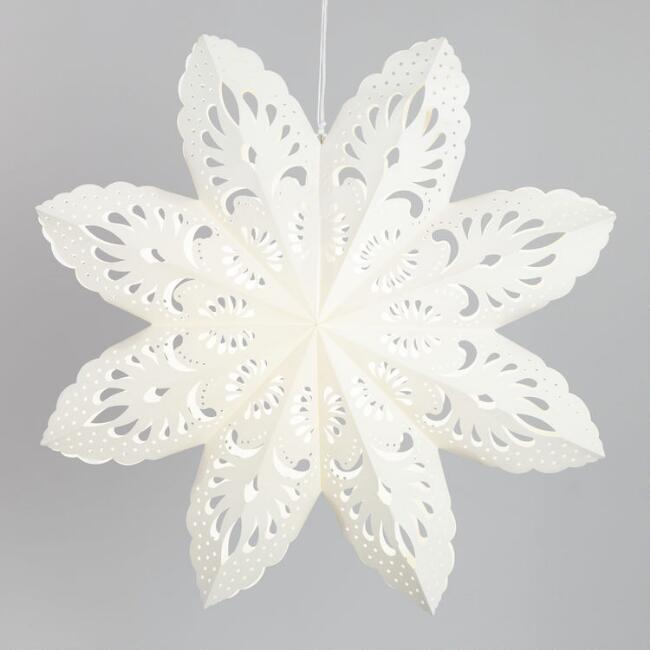 Extra Large White Scalloped Paper Snowflake Lantern