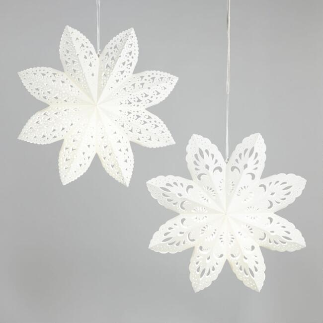 Large White Scalloped Paper Snowflake Lanterns Set of 2