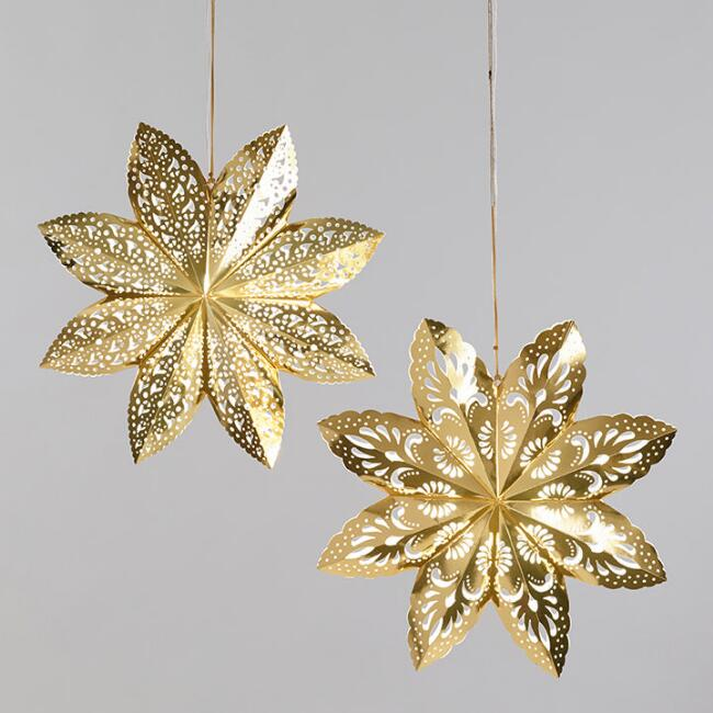 Large Gold Scalloped Paper Snowflake Lanterns Set of 2