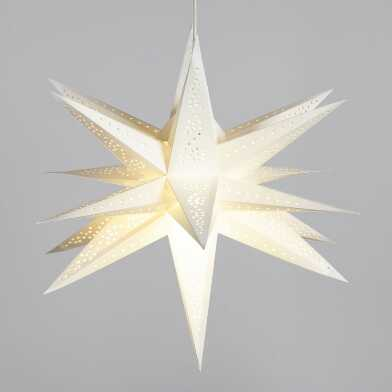 White 3D Multi Point Collapsible Paper Star Lantern