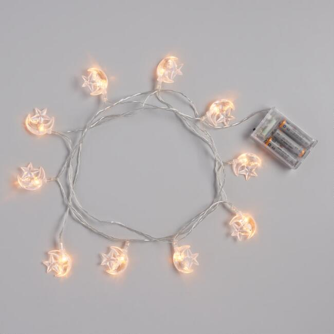 Transparent Moon and Star Micro LED 10 Bulb String Lights