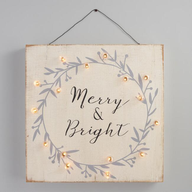 Wood Merry and Bright Battery Operated Wall Decor