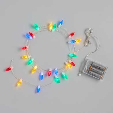 Retro Multicolor LED 25 Bulb Battery Operated String Lights