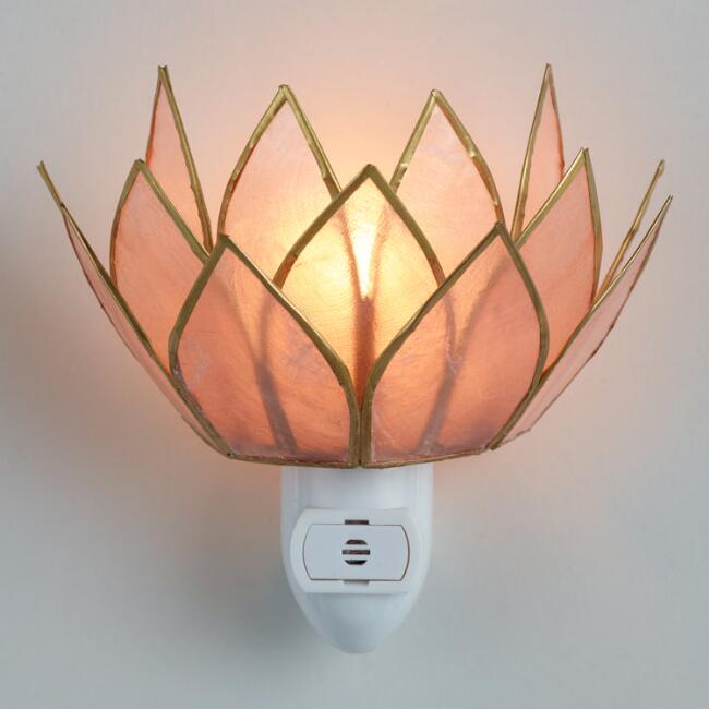 Blush Pink Capiz Lotus Flower Night Light