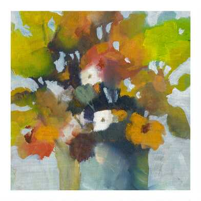 Pot of Flowers Peach by Michelle Abrams Canvas Wall Art
