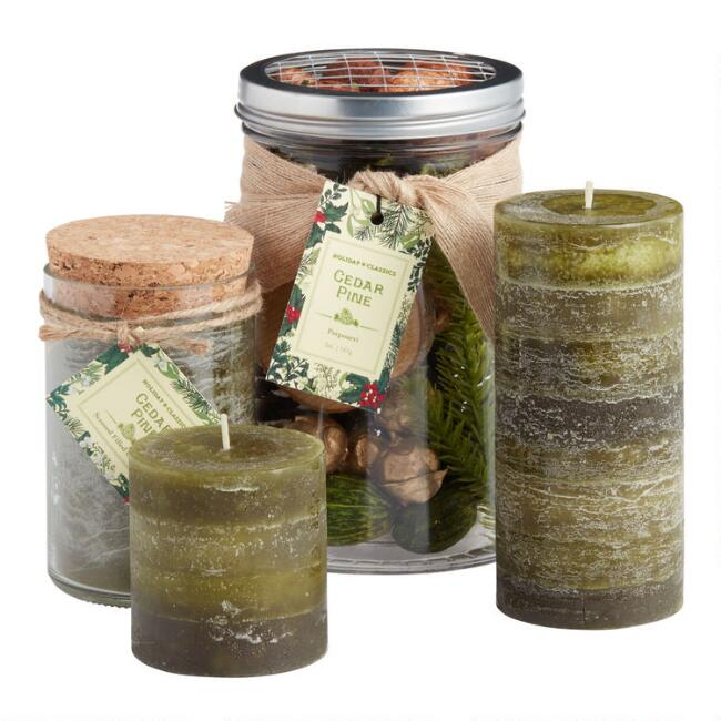 Green Sugared Cedar Pine Candle Collection