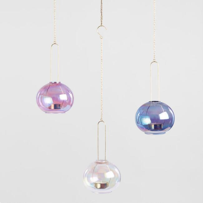 Holographic Hanging Tealight Candleholders Set of 3