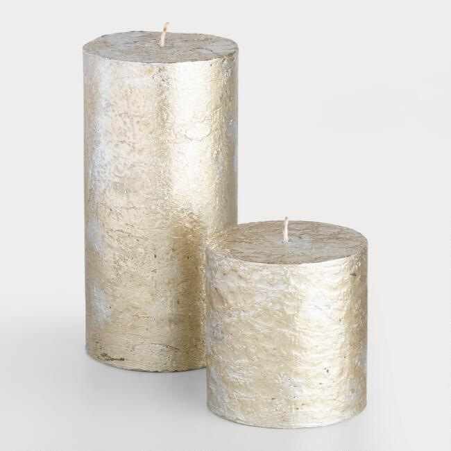 Silver and Gold Mercury Pillar Candle